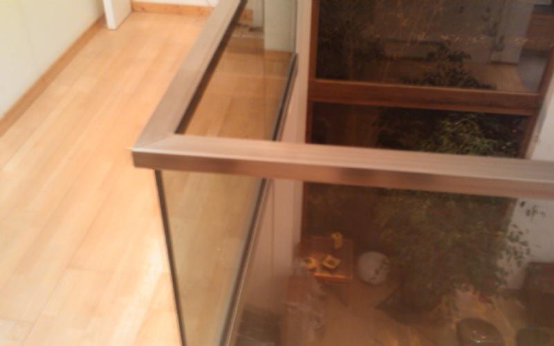 épaisseur du plancher verre ép 13 mm clair spl, maincourante inox ~ Main Courante Bois